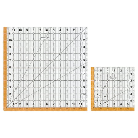 Fiskars 2 Piece Square Acrylic Ruler Set  12 5   X 12 5   And 6 5   X 6 5