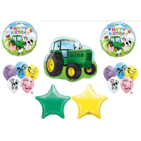 Farm Tractor Barnyard Cow Pig Deere Birthday Party Balloons Favors Decorations Supplies John (John Deer Birthday)