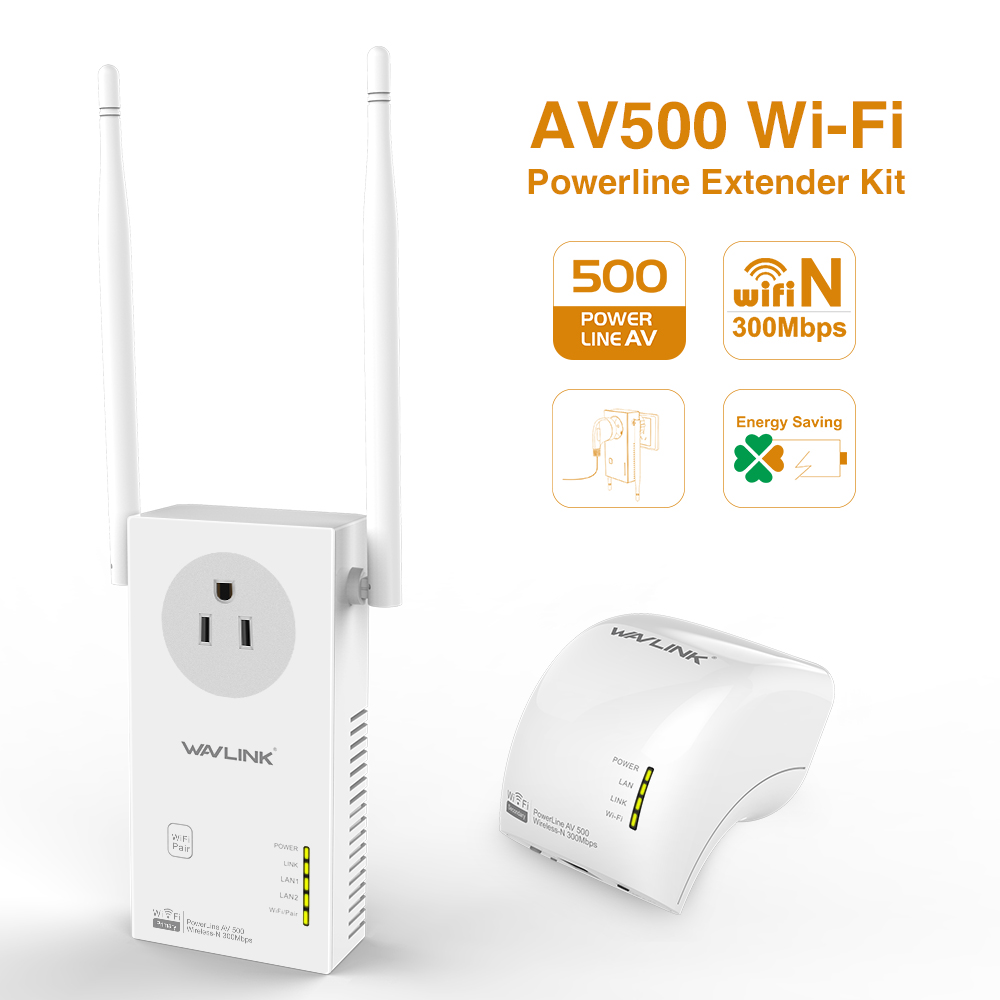 Wavlink AV500 Wi-Fi Range Extender Powerline Outlet Pass-Through Adapter Starter Kit up to 500Mbps Plug and Play 2-Kit Pack