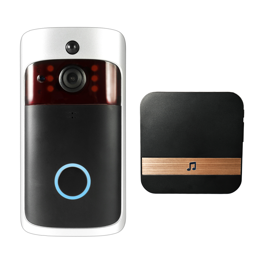 Smart Wireless WiFi Security DoorBell Smart Video Door Phone with Plug-in Chime Visual Recording Low Power Consumption Remote Home Monitoring Night Vision