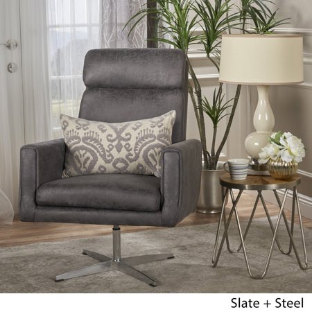 Christopher Knight Home Horatia Modern Microfiber Swivel Accent Chair by  Slate
