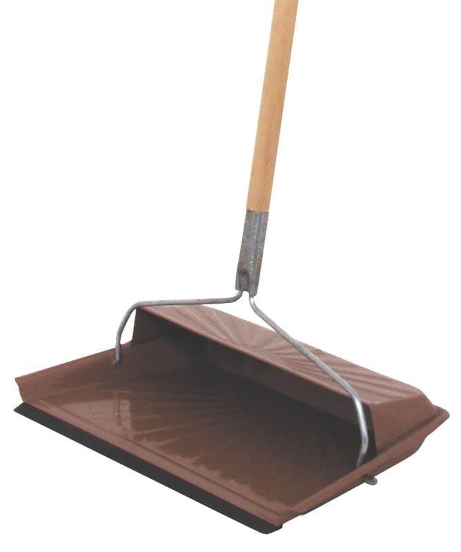 Fulton 20247 Long Handle Hooded Dust Pan 7 in W x 11-1 2 in H, Steel Rubber, Black by Fulton