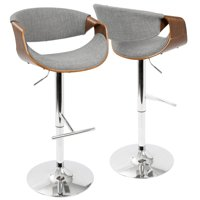 Curvo Mid-Century Modern Adjustable Barstool with Swivel in Walnut and Cream by LumiSource