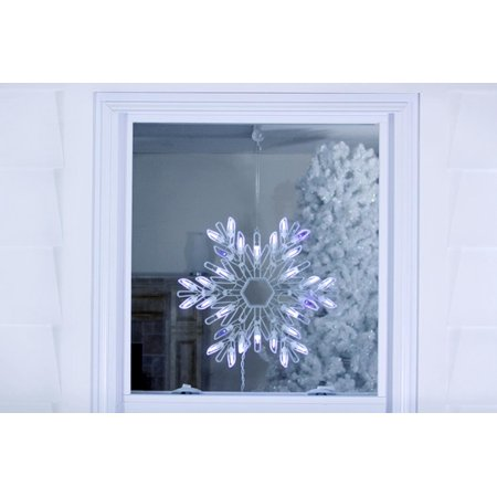 15 shimmering pure white blue led lighted snowflake for 16 lighted snowflake christmas window silhouette decoration