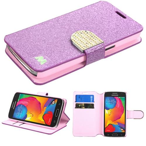 Insten Folio Leather Wallet Glitter Case with Stand & Card slot & Diamond For Samsung Galaxy Avant - Purple/Gold