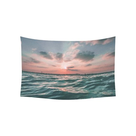 YKCG Home Decoration Sunset Sea Sky Ocean Summer Green Water Nature Wall Hanging Tapestry 80 x 60 Inches