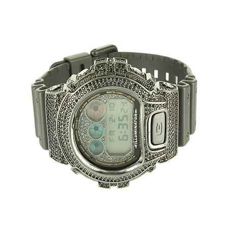 G Shock Digital Dw6900 Mens Complete Black Silicon Band Watch Lab Diamond