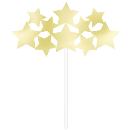 Foil Stars Cake Topper, 6 in, Gold, 1ct