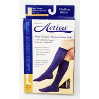 Activa Sheer Therapy 15-20 mmHg Women's Socks, Black, Medium (Certified Refurbished)
