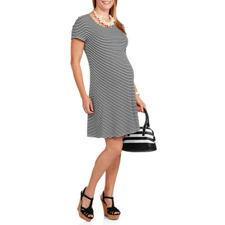 600c381510 Glamour   Co Maternity - Short Sleeve Striped Swing Dress - Walmart.com