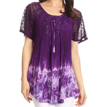 - Sakkas Clarice Petite Raglan Lace Up Tie Dye Blouse with Embroidery and Sequins - Purple - One Size Regular