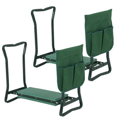 Zeny 2x Garden Seat Bench Kneeling Pad Tool Pouch Gardening Kneeler Folding Chair (Kneeler Bench)