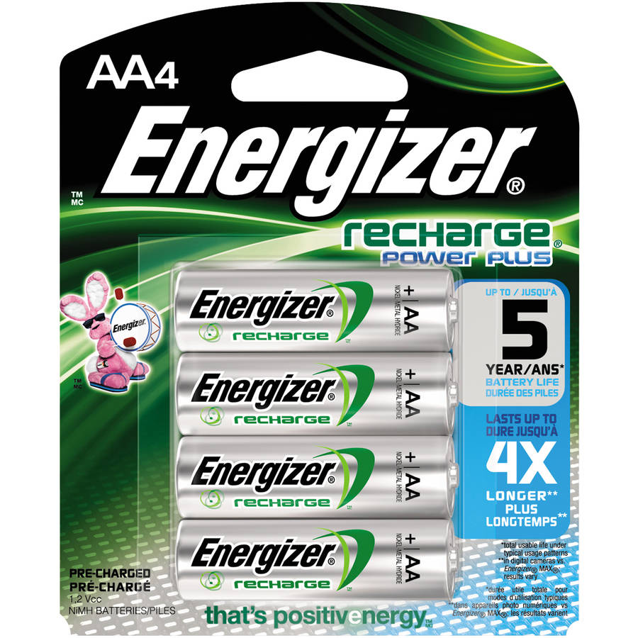 Energizer NiMH Rechargeable Batteries, AA, 4 Batteriespk