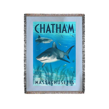 Chatham, Massachusetts - Tiger Sharks - Lantern Press Artwork (60x80 Woven Chenille Yarn Blanket)