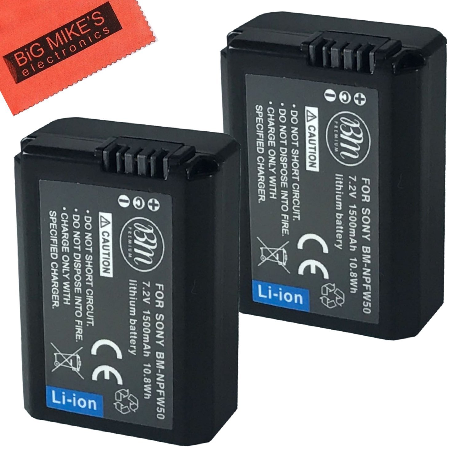 BM Premium 2 Pack of NP-FW50 Batteries for Sony Alpha Digital Cameras