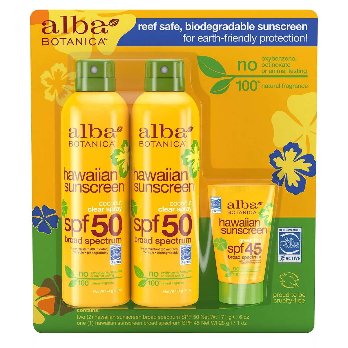 Alba Botanica Hawaiian Sunscreen Spray SPF50 6 oz., 2-pack + Travel Size 1 oz.