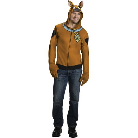 Adult's Scooby-Doo Dog Hoodie With Attached Ears And Gloves Costume - Costume Daphne Scooby Doo