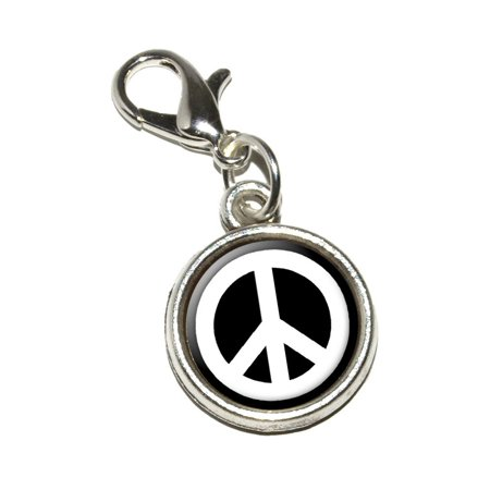 Peace Symbol Charm - Peace Sign Symbol - Black Bracelet Charm