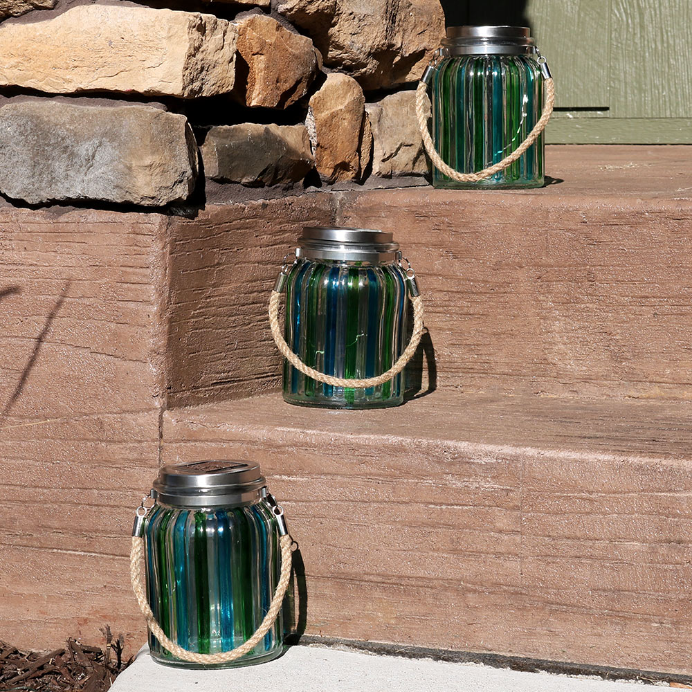 Sunnydaze Blue and Green Striped Solar Lantern Glass Jar Light with White LED String Lights, Set of 3