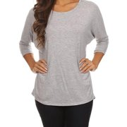 MOA Collection Women's Plus Size Basic Solid Color Dolman Tee HEATHERGRAY-3XLARGE