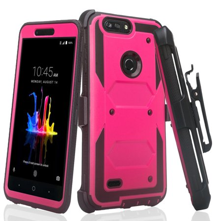 ZTE ZFive G LTE Z557BL / ZTE ZFive C Z558VL / ZTE Avid 4 / ZTE Fanfare 3 / ZTE Blade Vantage / ZTE Tempo X / ZTE Tempo Go, Heavy Duty Belt Clip Holster [Built In Screen Protector] Case - Hot Pink