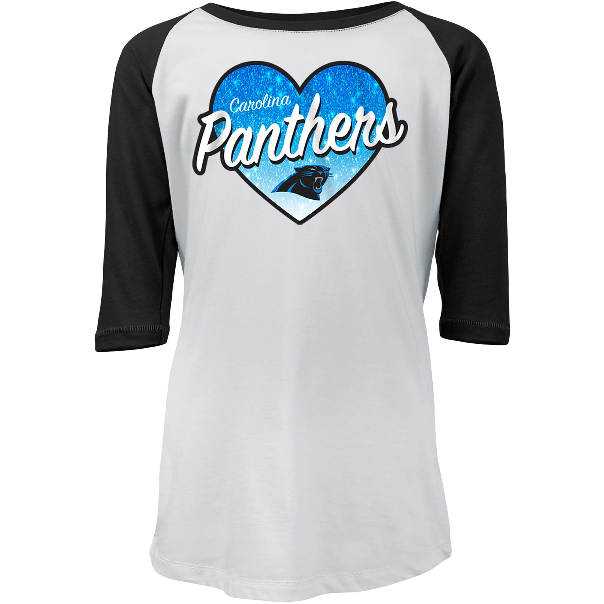 Carolina Panthers New Era Girls Youth Gradient Heart Raglan 3/4-Sleeve T-Shirt - White/Black
