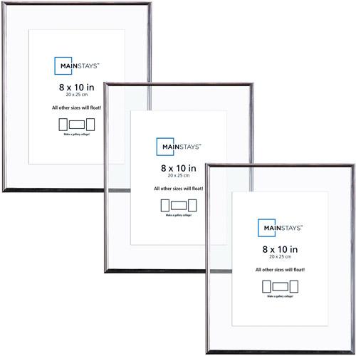 Mainstays 8x10 Silver Float Frame 3pk Walmartcom