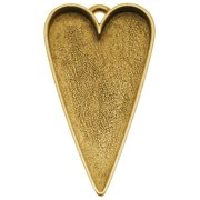 Nunn Design Antiqued Gold Plated Pewter Bezel Large Heart Pendant 2 1/8 Inch