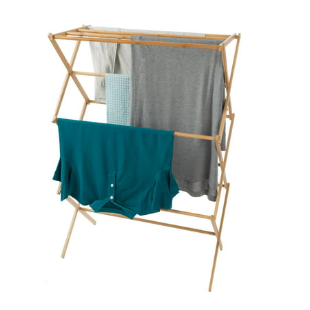 Bamboo Clothes Drying Rack- Collapsible and Compact for Indoor/Outdoor Use-Portable Wooden Rack for Hanging and Air-Drying Laundry- By Lavish Home (Outside Clothing Drying Racks)