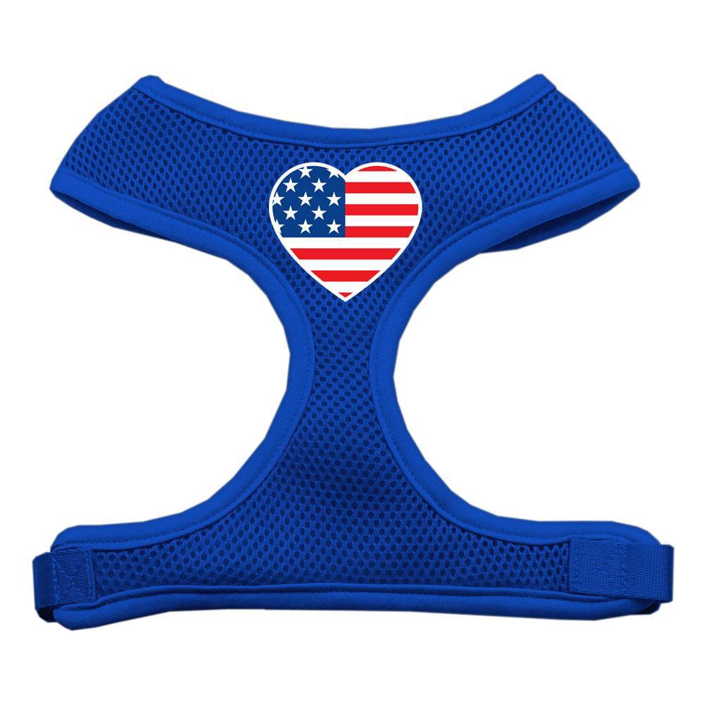 Heart Flag Usa Screen Print Soft Mesh Harness Blue Large