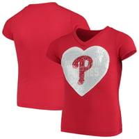 Philadelphia Phillies New Era Girls Youth Flip Sequins V-Neck T-Shirt - Red