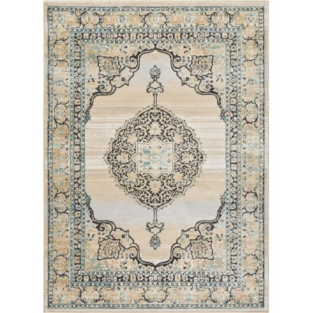 Well Woven Hughes Kashmir Traditional Vintage Distressed Medallion Blue 5'3
