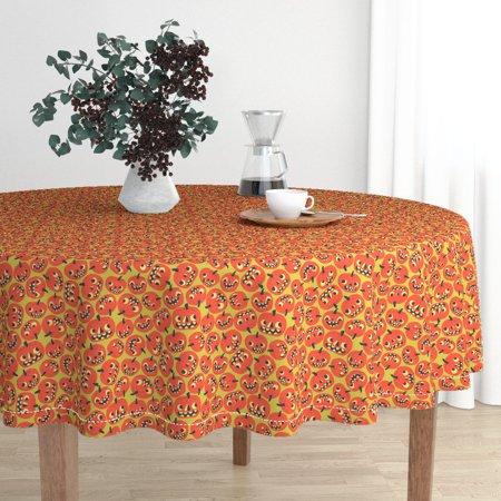 Round Tablecloth Halloween Jack O Lantern Pumpkin Sf926hal13 Cotton Sateen](Mansion On O Halloween)