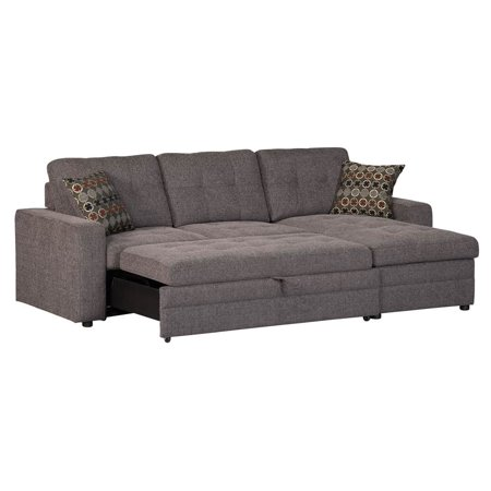 Storage sectional sofa with pull out bed walmartcom for Sectional sleeper sofa with storage and pillows