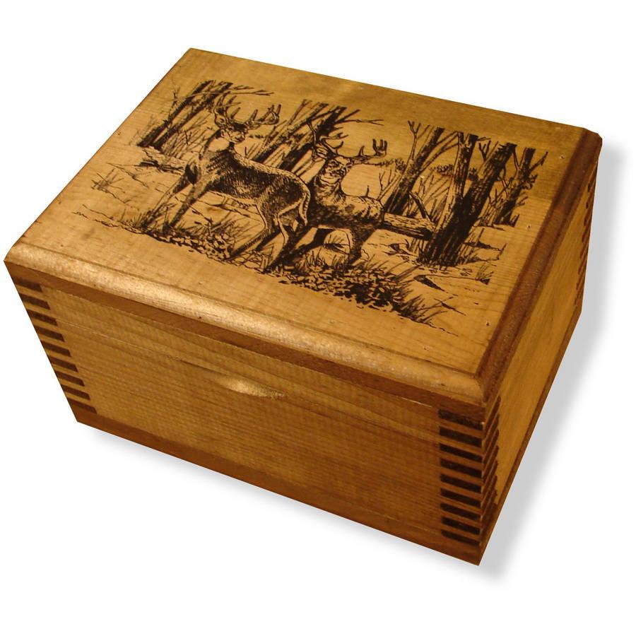 Evans Sports Mini Wooden Box with Two Bucks Print