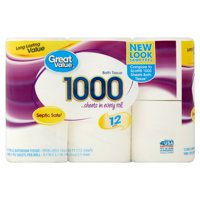 Great Value 1000 Sheets Toilet Paper, 12 Rolls