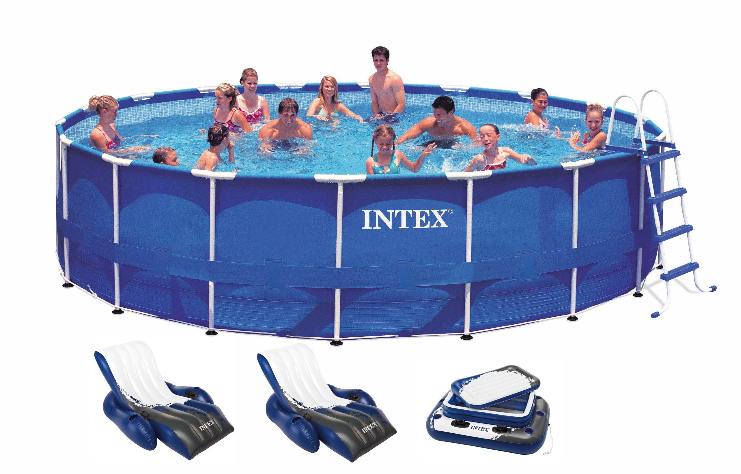 "Intex 18' x 48"" Metal Frame Swimming Pool Deluxe Set w  1500 GFCI Pump | 28251EH by Intex"