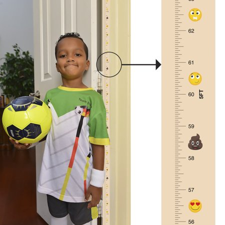 Award-winning Mom Approved PeekaBoo Growth Charts (Emoji) Fits in Door Jamb, Removable, Self-Adhesive [72 x 1.25 Inches] A Baby Infant Growth Chart