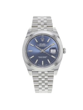 Rolex Datejust 41 126300 blij Blue Index Dial Steel Automatic Mens Watch