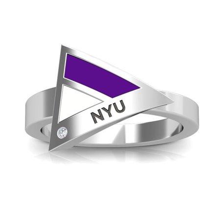 Geometric Purple Ring (New York University Nyu Engraved Diamond Geometric Ring In Purple And White)