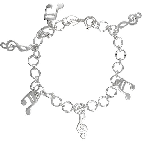 Brinley Co Sterling Silver Music Notes Bracelet, 7""