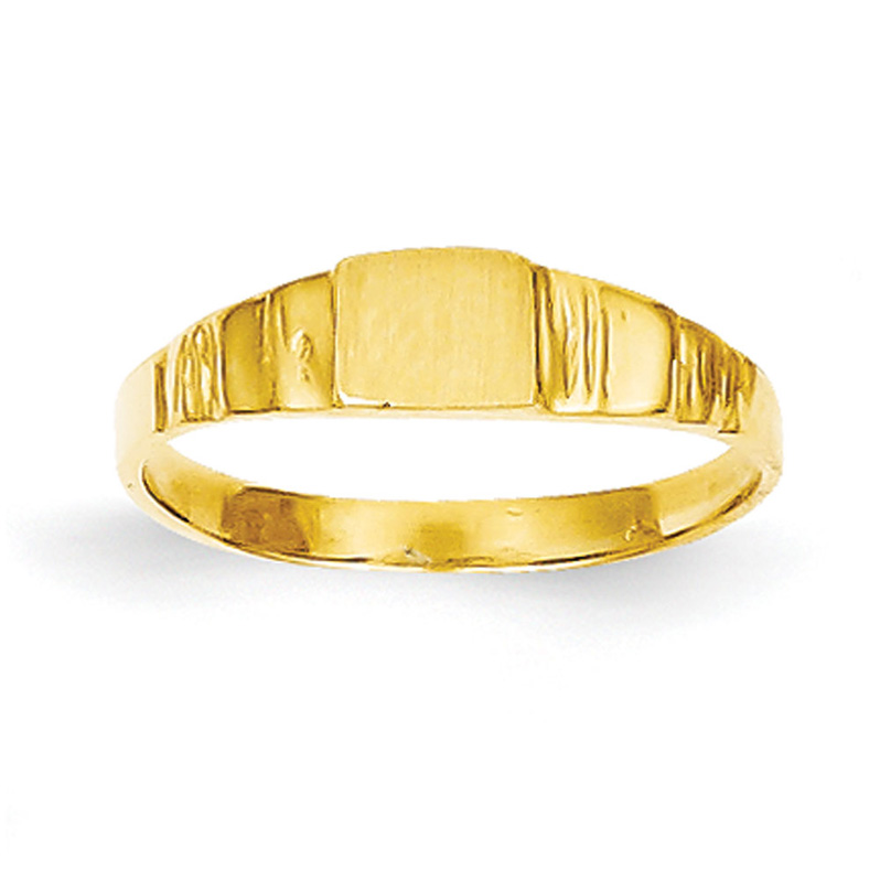 14k Yellow Gold Square Baby Signet Ring