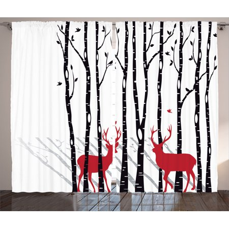 Curtains Ideas curtains birds theme : Antlers Decor Curtains 2 Panels Set, Deer Tree Forest Backdrop ...