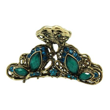 Bronze Butterfly Hair Claw Clip - Elegant Blue Rhinestone Hair Clip