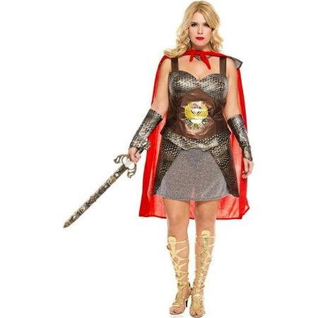 Music Legs 70611Q-3X-4X 3 Piece Plus Size Roman Warrior Costume - 3X & 4X