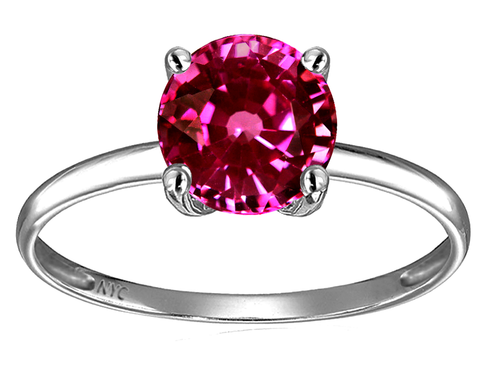 Star K Simulated Pink Tourmaline Round 7mm Solitaire Engagement Ring by