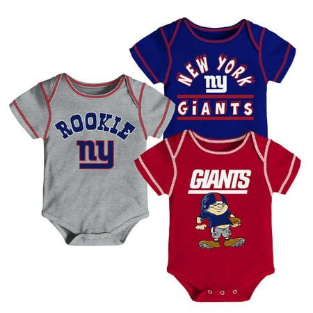 Newborn & Infant Royal/Red/Gray New York Giants 3-Pack Bodysuit Set
