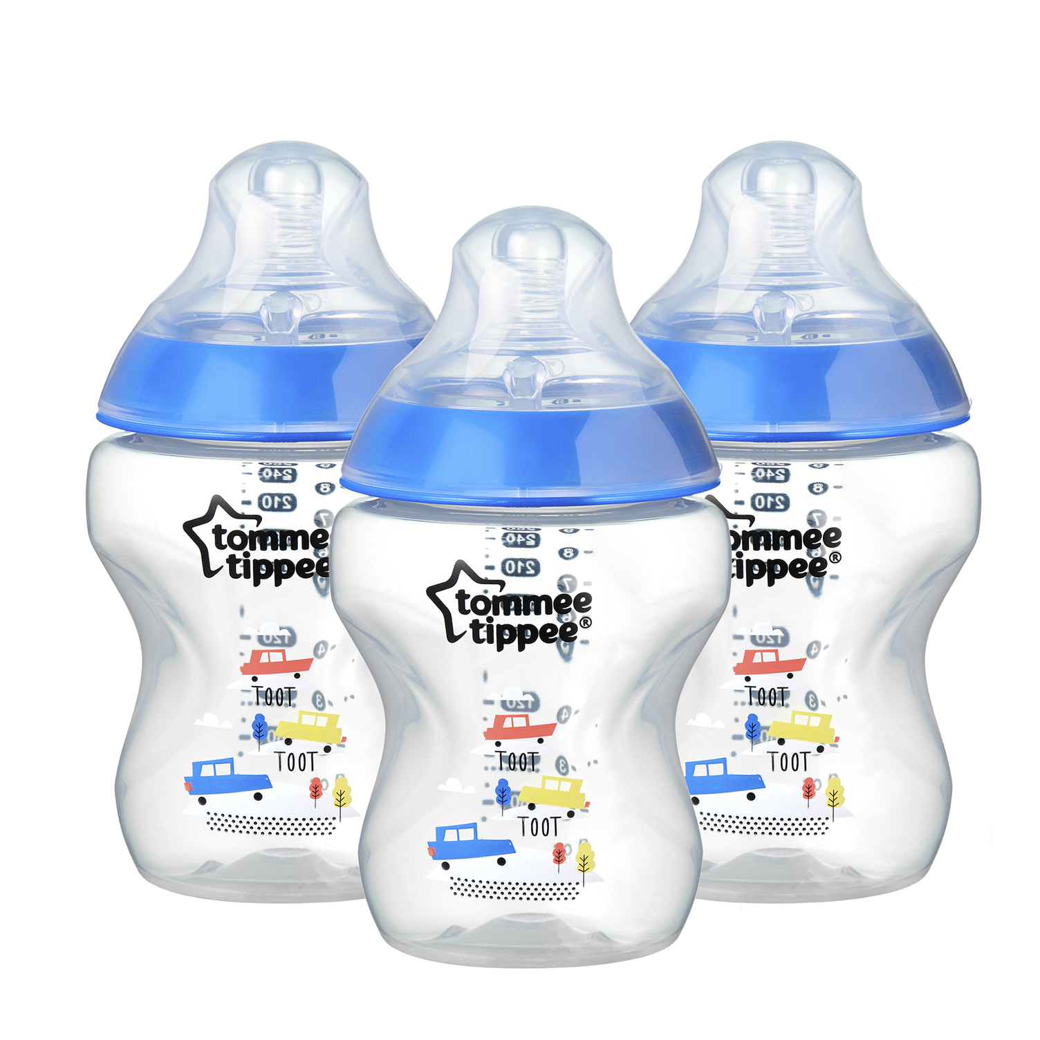Tommee Tippee Closer to Nature Baby Bottles – 9 ounces, Blue, 3 Count