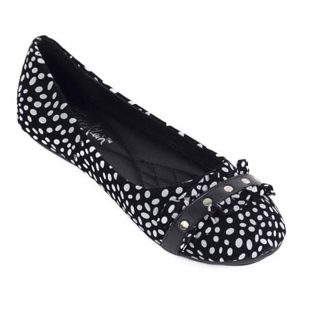 Women Polka Dot Ruffled Ballet Flats, Faux Leather Slip-Ons Work & Casual