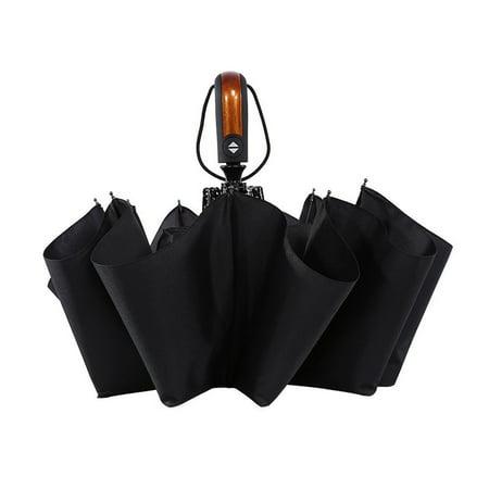 HURRISE Windproof Travel Umbrella,Automatic Folding Compact Portable Rain Umbrellas 10 Ribs Stormproof Canopy Umbrellas for Men and Women